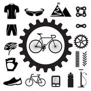 bicycle icons set - stock illustration