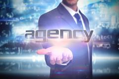 Agency against math equation background - stock illustration