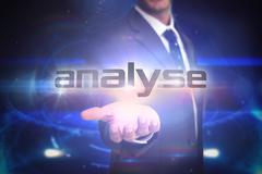 Stock Illustration of Analyse against futuristic black background with circles