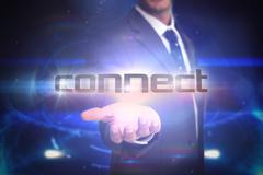 Connect against futuristic black background with circles Stock Illustration