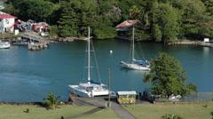 St Lucia Caribbean marina harbor sailboat HD 1514 Stock Footage