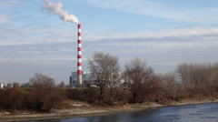 Chimney; air pollution; river; refinery; contamination; environment; Stock Footage