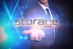 Storage against futuristic black background Stock Illustration