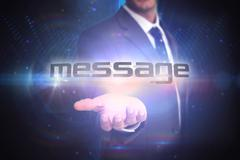 Message against futuristic black background Stock Illustration