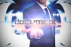 Document against abstract cloud design in futuristic structure Stock Illustration