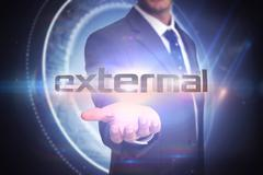 External against black background with glowing circle - stock illustration