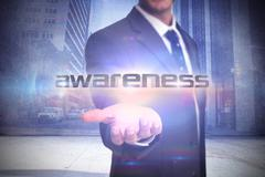 Awareness against urban projection on wall Stock Illustration