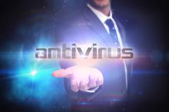 Stock Illustration of Antivirus against black background with glowing light