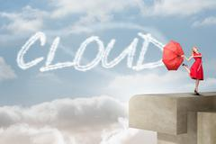 Cloud against balcony and bright sky Stock Illustration