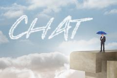 Chat against balcony and bright sky Stock Illustration