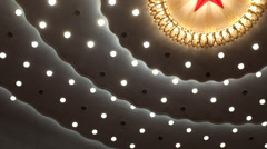 Toplights with red five-pointed star inside the Great Hall of the People Stock Footage