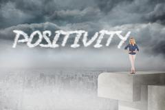 Stock Illustration of Positivity against balcony overlooking city