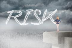 Risk against balcony overlooking city Stock Illustration