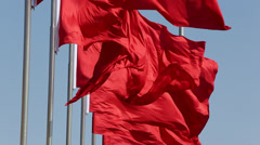 Red flags fluttering Stock Footage