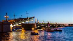 4k TimeLapse, open Trinity bridge, Saint-Petersburg, Russia, 16 JUN 2013 Stock Footage