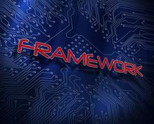 Framework against blue technology background Stock Illustration