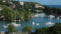 Tourist boats nearly crash in harbor St Lucia Caribbean HD 1516 Stock Footage