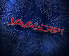 Javascript against blue technology background Stock Illustration