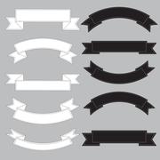 Old ribbon banner ,black and white. Stock Illustration