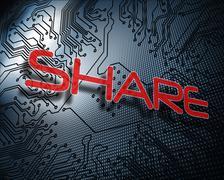 Share against illustration of circuit board Stock Illustration