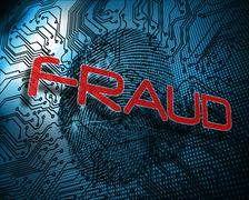 Fraud against illustration of blue fingerprint Stock Illustration