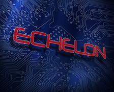 Echelon against blue technology background Stock Illustration
