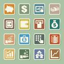 Stock Illustration of finance and money  sticker icon set.