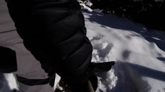 Shoveling a snowy driveway Stock Footage