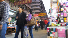 Time Lapse Hong Kong Chinatown Sham Shui Po open market shopping China Asia Stock Footage