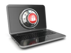 internet security.  laptop and safe lock. - stock illustration