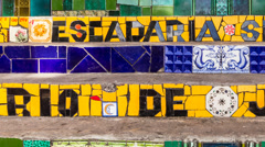 Selaron Stairs in Rio de Janeiro, Brazil Stock Footage