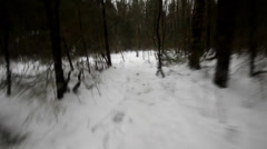 Run away in  panic on  dark terrible winter forest Stock Footage