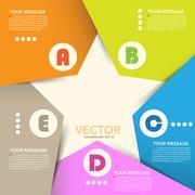 folded paper star infographic - stock illustration
