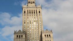 Warsaw, Poland. Palace of Culture and Science. Stock Footage