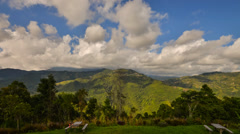 Moving Cloud Over Mountain Valley Zoom In Stock Footage