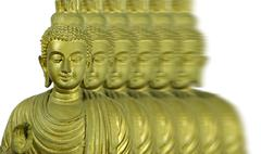 buddha statue isolated on white, motion effects - stock illustration