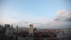 Pan Right of Manhattan New York Brooklyn Bridge Stock Video Stock Footage