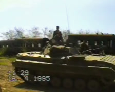 Russian armored personnel carriers on the war in Chechnya. Stock Footage