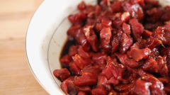 Meat marinating close up Stock Footage