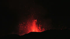 Volcanic eruption beautiful night shot. Stock Footage