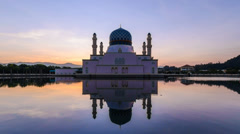 Sunrise Likas Mosque Zoom Out Stock Footage