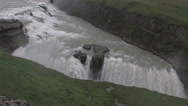 Stock Video Footage of Gullfoss waterfall canyon wide shot