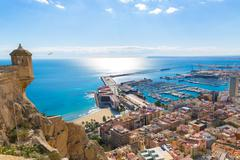 Alicante skyline aerial from santa barbara castle spain Stock Photos