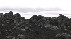 Lavafield zoomout at volcano Hekla Stock Footage