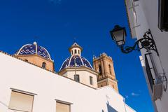 altea old village church typical mediterranean at alicante - stock photo