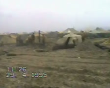 Tent town of the Russian military in Khankala. Chechnya 1995 Stock Footage