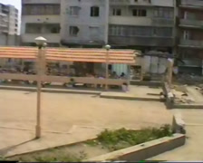 The clothing market. Grozny, the ruined city. Chechnya 1995. Stock Footage