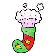 Stock Illustration of cartoon magic christmas stocking
