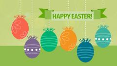 Happy Easter! Hanging Easter eggs animated. Stock Footage