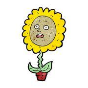 cartoon flower with face - stock illustration